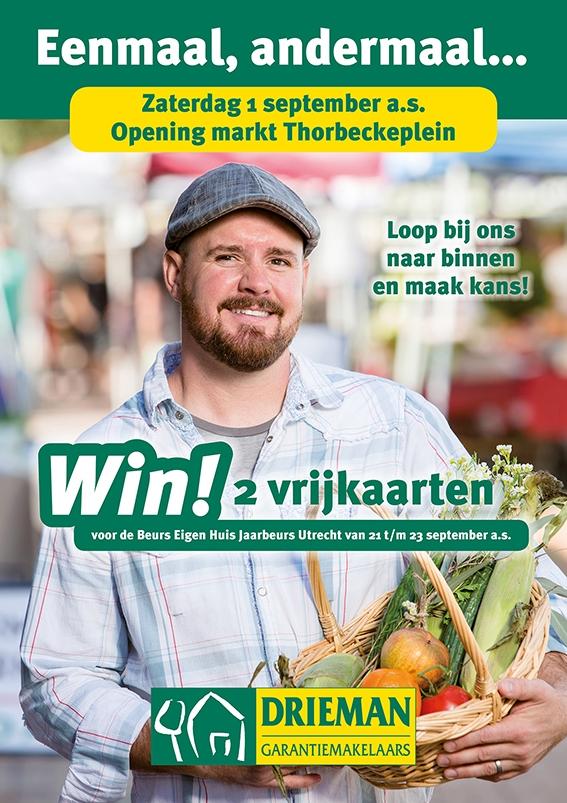 Drieman viert de opening van het Thorbeckeplein!