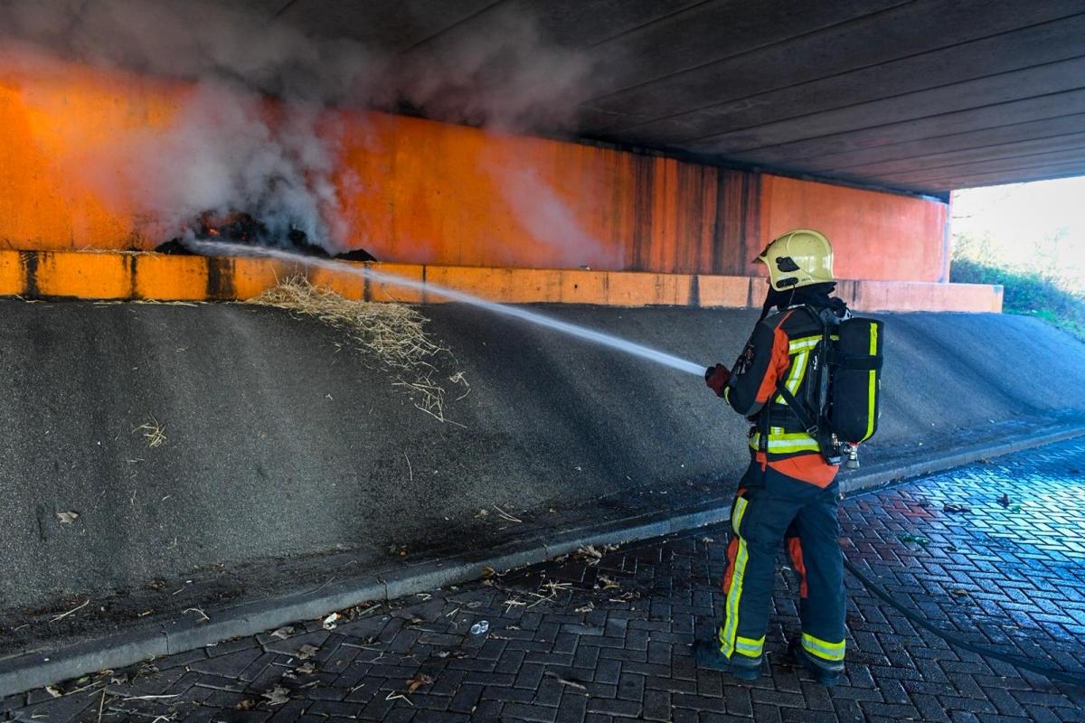 Brandweer blust brandje onder Albert Schweitzerbrug