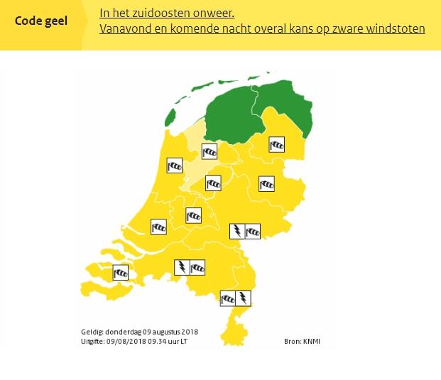 KNMI geeft code geel af voor zware windstoten